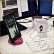 AURALUX lila e-book tartó kőrisfából